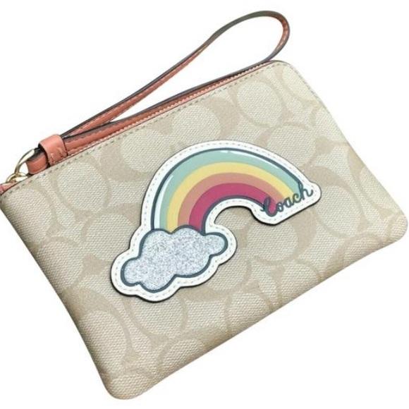 Coach Corner Zip Wristlet with Rainbow Motif